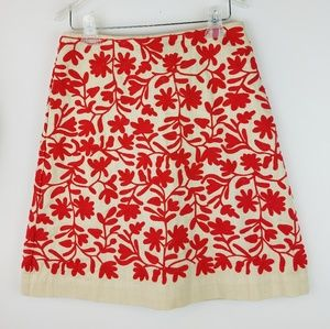 Boden Embroidered A-Line Skirt